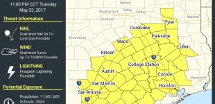 Severe Thunder Storm Watch Issued; Large Damaging Lime Size Hail Possible